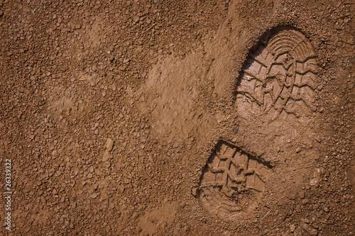 Fotomural  Footprint on mud with copy space