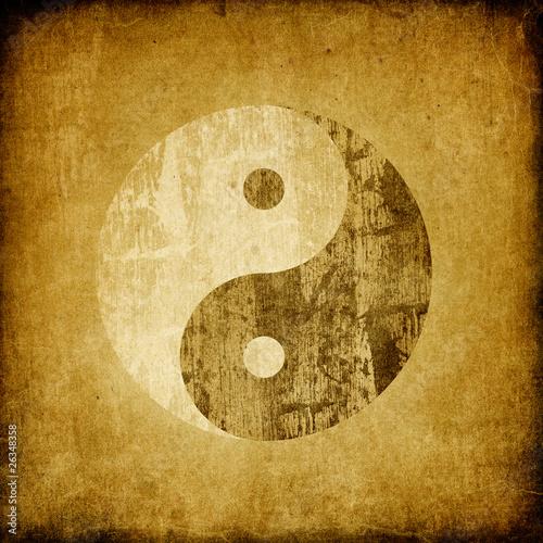 Fényképezés  Grunge yin yang symbol background.