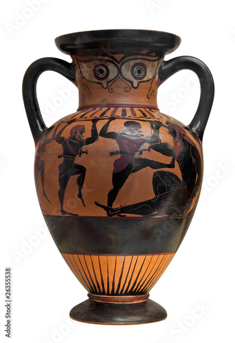 Ancient greek vase depicting Ulysses fighting the cyclop  isolat