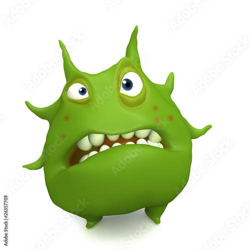 Poster de jardin Doux monstres big green virus