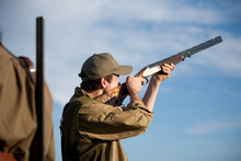 Hunter Aiming At The Hunt During A Hunting Party