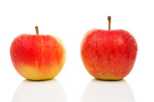Two Juicy Red Apples Over White Background
