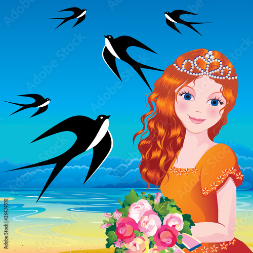 Poster Castle Beautiful princess against the sea background.