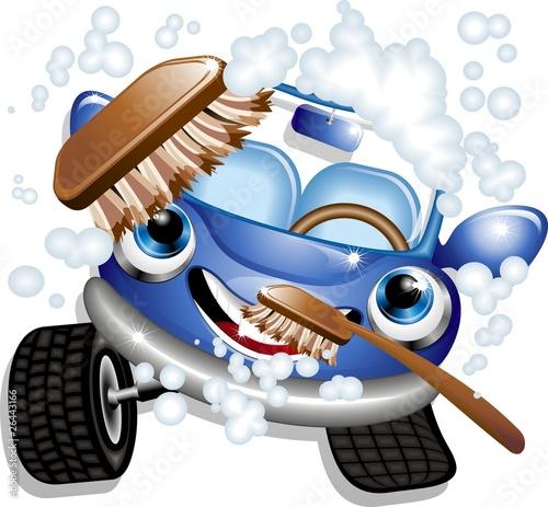 Staande foto Cartoon cars Auto Lavaggio Cartoon-Car Wash-Vector