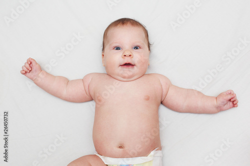 Happy 3 Months Old Baby Smiling Lying On White Bed Buy This Stock