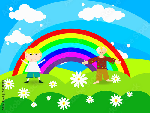 Photo Stands Rainbow Cheerful boy stands on a rainbow