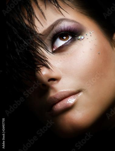 Fashion Girls FacePerfect makeupIsolated on Black