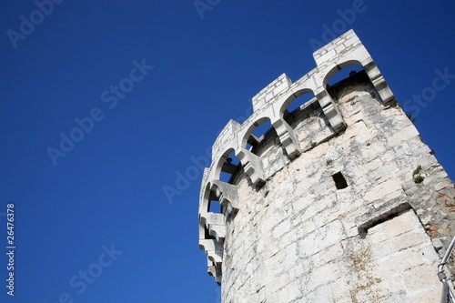 Fotografie, Obraz  Old rounded fortress in Korcula, Dalmatia region, Croatia