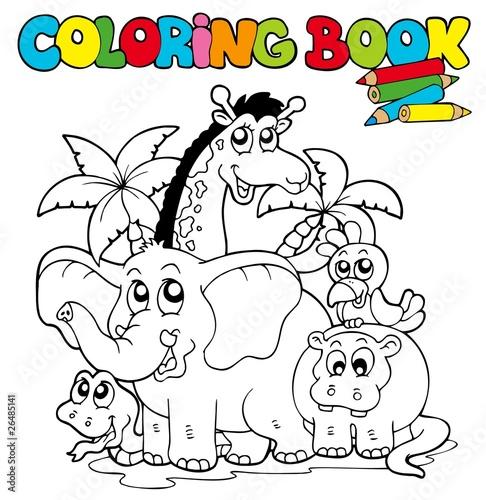 Türaufkleber Zum Malen Coloring book with cute animals 1