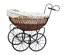 Retro Pram Isolated On White. ...