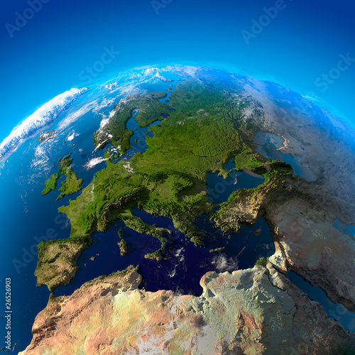Deurstickers Noord Europa View on Europe from a height of satellites
