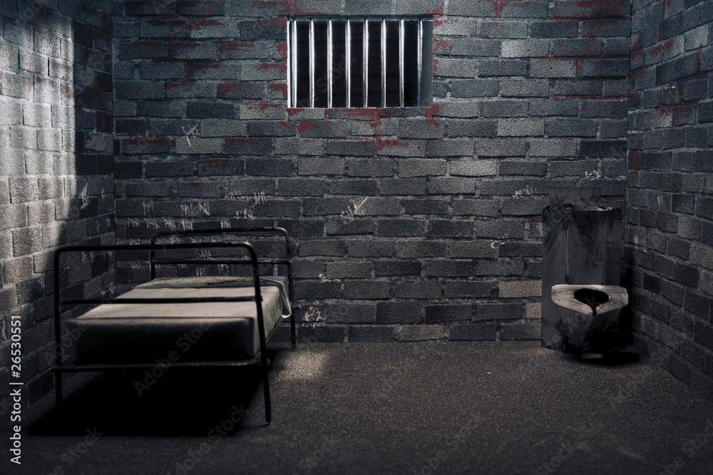 Fototapeta Dark prison cell at night