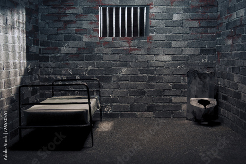 Dark prison cell at night Wallpaper Mural
