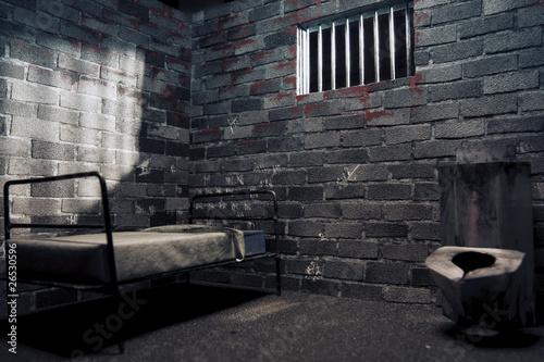 Dark prison cell at night Canvas Print