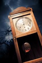 Dark Antique Clock At Night