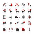 Red Black Web Icons - Car & Workshop
