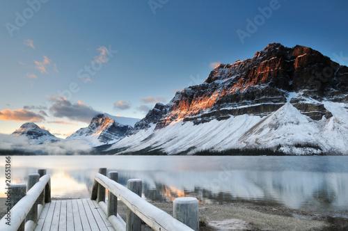 Spoed Foto op Canvas Canada Bow Lake sunrise, Banff National Park
