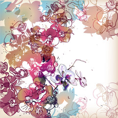 Panel Szklanyfloral background with colored orchids