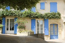 French Village Cottage With Blue Shutters Provence France