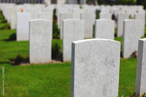 Pinturas sobre lienzo  War cemetery with white headstones