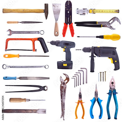 Große Kollektion verschiedener Werkzeuge