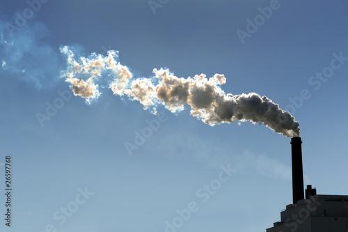Fotografering  Smokestack Billowing Smoke