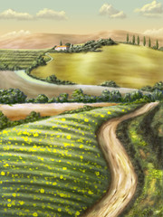 Panel Szklany Rural landscape