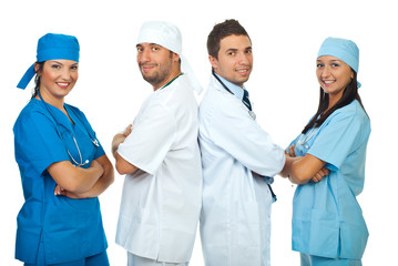 Happy teams of doctors