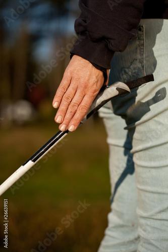 Poster Hunting Hand mit Nordic Walking Stock