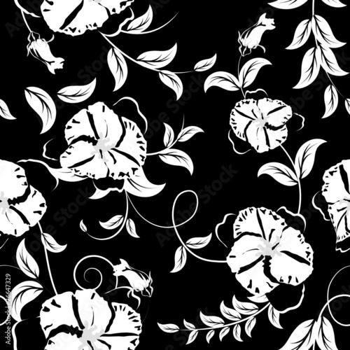 Staande foto Bloemen zwart wit floral seamless pattern