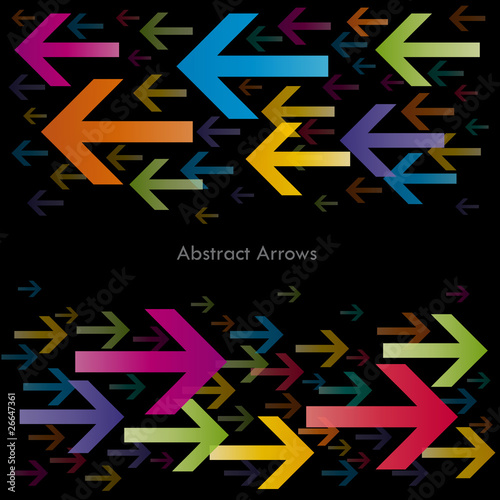 Bidirectional Abstract Arrows on black background Canvas Print