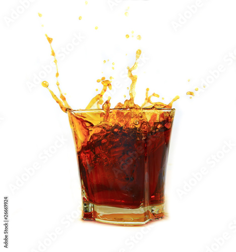 Staande foto Opspattend water Whiskey splash isolated on white background