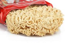 Instant Noodles On White Backg...