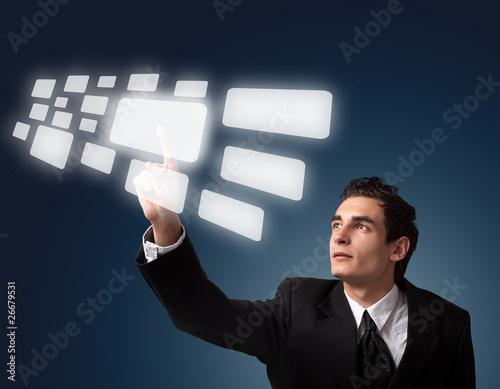 Fotografia, Obraz  business man pressing button