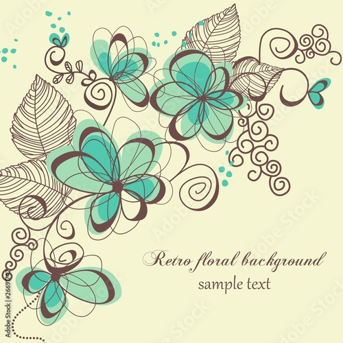 Poster Abstract Floral Retro floral background