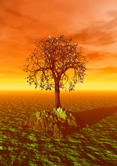 3d landscape with fall tree