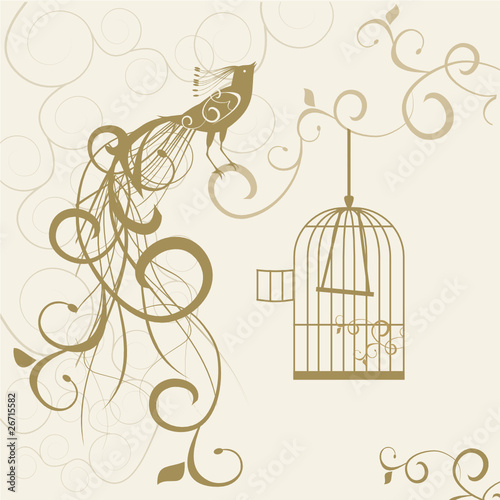 Poster Birds in cages bird out of the golden cage floral background