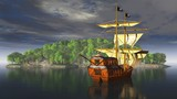 Piratenschiff mit Pirat vor der Insel
