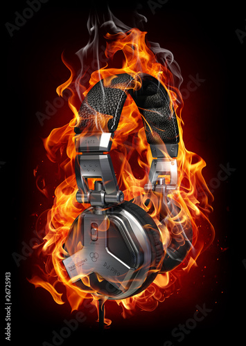 Deurstickers Vlam Burning headphones