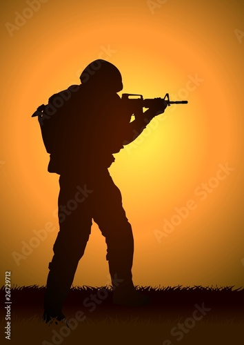 Poster Militaire Stock illustration of a soldier