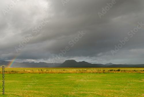 Fotobehang Rijstvelden Arcobaleno a Vik Islanda