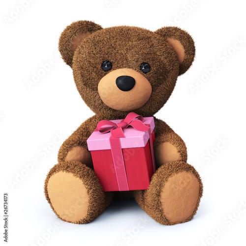 Teddy bear with present box #26734173