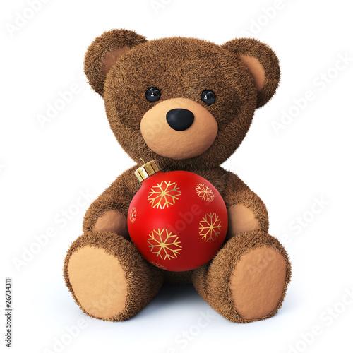 Teddy bear with christmas ornament #26734311