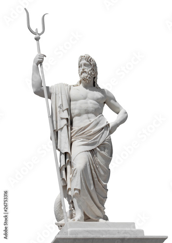 Valokuva Marble statue of the sea god Neptune isolated on white