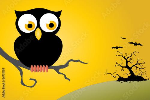 Deurstickers Uilen cartoon Halloween Owl Background