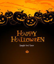 Halloween Composition With A Pumpkins For Cards And Labels