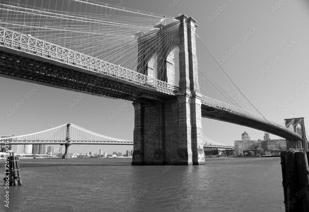 Fototapety, obrazy: Brooklyn Bridge in Blach & White, New York, USA