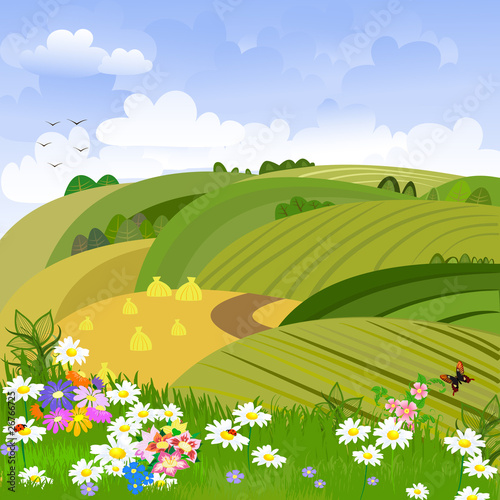 Aluminium Prints Green coral Rural landscape with flower meadow