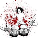 perkusista na tło grunge - 26767999