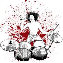 Drummer On Grunge Background